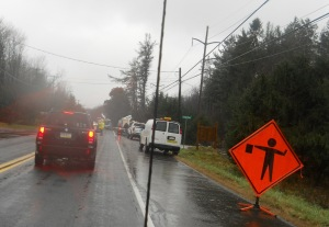 Road crews on Rt. 940, hard at work in the cold rain.